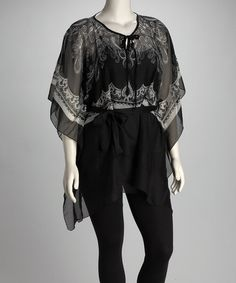 Take a look at this Black Embellished Sheer Plus-Size V-Neck Tunic by Own Your Look: Women's Tops on #zulily today!