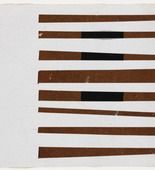 """Ellsworth Kelly (American, born 1923)  Black, Brown, White, 1951, Ink on paper and gouache on paper, 7 1/2 x 8"""" (19 x 20.3 cm), Gift of the artist and purchased with funds provided by Jo Carole and Ronald S. Lauder, Sally and Wynn Kramarsky, Mr. and Mrs. James R. Hedges, IV, Kathy and Richard S. Fuld, Jr. and Committee on Drawings FundsMoMA Number:1156.2001.35Copyright:© 2014 Ellsworth Kelly"""