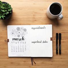 Bullet journal monthly calendar, hand lettering, flower drawing. | @hollylovesplanning