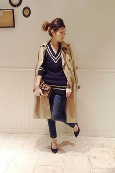 L'Appartement DEUXIEME CLASSE スナップNo4058 メインカット Office Wear, Casual Fall, Jean Outfits, Dress Codes, I Dress, Color Pop, Leather Skirt, Autumn Fashion, Clothes For Women