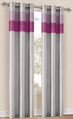 With Love Home Decor - Chelsea Silver/Pink/Fuschia Grommet Window Curtain Panel 40x84