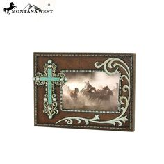 Silver Turquoise Stone Cross Resin Photo Frame