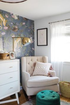 ideas for farmhouse nursery wallpaper Farmhouse Nursery Decor, Bedroom Decor, Bedroom Ideas, Baby Girl Nursery Wallpaper, Glitter Room, New England Farmhouse, Floor Protectors For Chairs, Of Wallpaper, Wallpaper Ideas