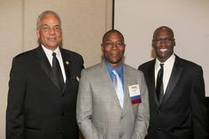Dalric Webb (GE Aviation) accepts the recognition as a BDPA Lifetime member from founder Earl Pace and national president Craig Brown. (August 9, 2014)