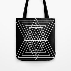 Overlapping Triangles ( Black & White) Tote Bag by nickiliad White Tote Bag, Triangles, Womens Tote Bags, Art Designs, Reusable Tote Bags, Shoulder Bag, Black And White, Style, Art Projects