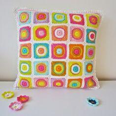 Crochet Cushion Color Bomb