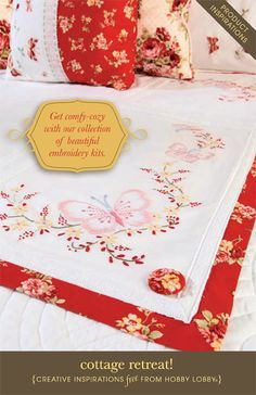 Hobby Lobby Project - Cottage Retreat - pillows, bedspreads, bed scarf,