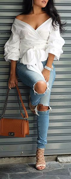 Chic & sexy with special blouse & heels.