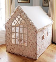 The ultimate fabric playhouse Cardboard Box Crafts, Cardboard Playhouse, Cardboard Toys, Cardboard Furniture, Craft Activities For Kids, Crafts For Kids, Fairytale Bedroom, Handmade Wallpaper, Custom Cushions