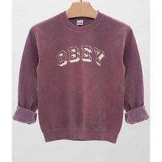 OBEY University Sweatshirt - Women's Sweatshirts | Buckle ($39) ❤ liked on Polyvore featuring tops, hoodies, sweatshirts, obey clothing, buckle tops, purple top and purple sweatshirt