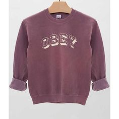OBEY University Sweatshirt - Women's Sweatshirts | Buckle ($39) ❤ liked on Polyvore featuring tops, hoodies, sweatshirts, obey clothing, buckle tops, purple top and purple sweatshirt