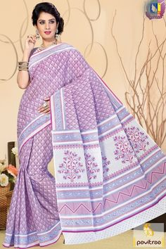 Exotic Collection of beautiful design violate color pure cotton festive special saree for girls. Attractive fashion trendy cotton saree enriched with bagh print. #saree, #casualsaree more: http://www.pavitraa.in/store/casual-saree/