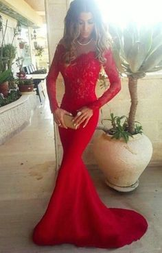 Red Prom Dress,Lace Prom Dresses,Sexy Long Sleeves Mermaid #prom #promdress #dress #eveningdress #evening #fashion #love #shopping #art #dress #women #mermaid #SEXY #SexyGirl #PromDresses