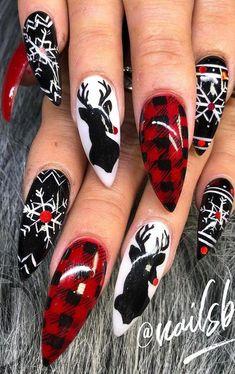 Nail art design ideas for this new year part christmas nails acrylic; Christmas Nail Polish, Cute Christmas Nails, Christmas Nail Art Designs, Xmas Nails, New Year's Nails, Holiday Nails, Hair And Nails, Christmas Design, Christmas Ideas