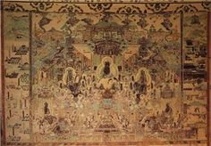 Paradise of Amitabha, Cave 172, Dunhuang, China, Tang Dynasty, mid-eight century. Wall painting, approx. 10' high