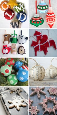 a collection of handmade tree ornament tutorials
