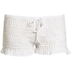 Valerie Crochet Shorts ($57) ❤ liked on Polyvore featuring shorts, draw string shorts, crochet shorts and drawstring shorts