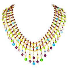 "The ""Panache"" necklace is great for any festive event. This necklace can liven up any outfit with its beautiful pops of color. Shop our Ready to Wear collection at alzerina.com."