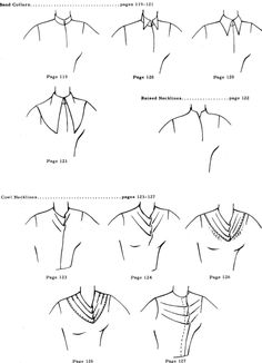 Band collars, raised necklines and cowl necklines