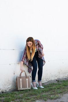 Kimono Obsession - kimono, top handle, pointed heels, skinnies, long hair, summer fashion blog post