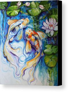 Koi Canvas Print featuring the painting Koi Koi And Lily by Marcia Baldwin