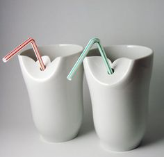Ceramic cups with straw hole // fler. Ceramic Cups, Ceramic Pottery, Cup With Straw, Cool Tech, Modern Ceramics, Inspiration For Kids, Clay, Cool Stuff, Kid Stuff