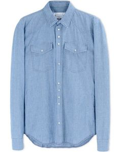 Buy Light Blue Regular Fit Long Sleeve Oxford Shirt from the Next UK online shop Formal Shirts For Men, Casual Shirts, Denim Button Up, Button Up Shirts, Blue And White Shirt, Work Looks, Margiela, White Casual, Chambray