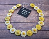 Ladies Yellow and White Patterned Button Necklace