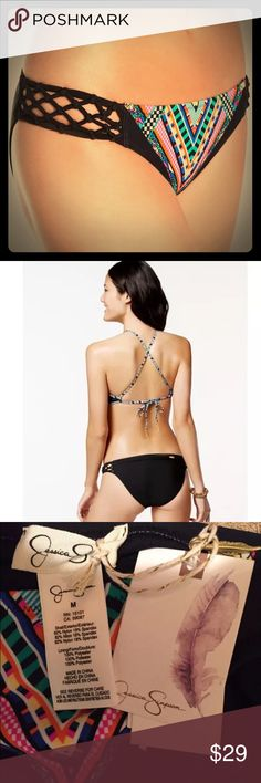 👙Jessica Simpson Hipster Bikini Bottoms-M (6/8) Jessica Simpson bikini bottoms size Medium. New with tags. Style: Venice Beach Side Braided Hipster Bikini Bottoms. Color: Black/Multi-Color. Pattern: Geometric. Moderate back coverage. Fully lined. Made of Nylon & Spandex. Jessica Simpson Swim Bikinis
