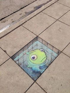 The cute and funky street art by David Zinn. Sluggo #streetart #chalkart