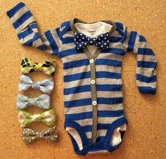 Baby Boy Blue/Gray Stripe with Dark Grey Cardigan Outfit with Your Choice of 1 Removable Bow Tie on Etsy, $35.00