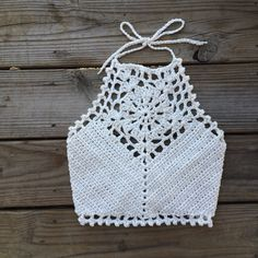 Festival Halter Crochet Crop Top || Natural