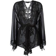 Belle Et Bon Bon Bisoux kimono (£415) ❤ liked on Polyvore featuring intimates, robes, black and kimono robe