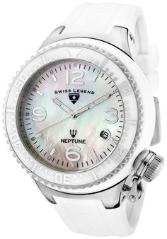 Price:$199.99 #watches SWISS LEGEND 11844-WWSA, Add an understated look to your outfit with this unique and detailed Neptune Ceramic Swiss Legend watch.