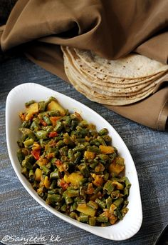 Recipe   Curried Long beans and potatoes