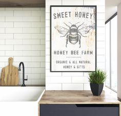 Looking to change your decor quickly on a budget? Our Sweet Honey Honey Bee Farm instant print will make the perfect addition to your space on a budget or perfect last minus gift. Simply purchase, print and frame on your own. Farmhouse Wall Art, Vintage Farmhouse, Farmhouse Decor, Farmhouse Kitchens, Wooden Wall Art, Metal Wall Art, Bee Farm, Vintage Bee, Kitchen Prints