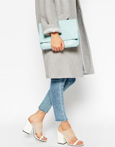Image 3 of ASOS Unlined Soft Leather Flap Over Clutch Bag