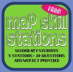 FREE! Map Skills Stations for Secondary Students!