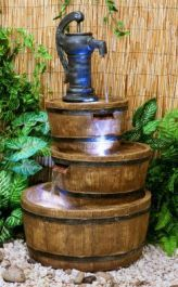 London Three Tiered Barrel & Pump Water Feature Fountain Cascade with LED Lights Diy Water Feature, Backyard Water Feature, Indoor Outdoor, Outdoor Decor, Barrel Fountain, Container Water Gardens, Pond Pumps, Garden Fountains, Outdoor Fountains