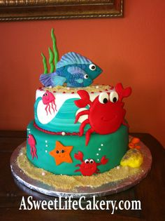 Under the Sea Baby Shower cake Fancy Cakes, Cute Cakes, Beautiful Cakes, Amazing Cakes, Fondant Cakes, Cupcake Cakes, Ocean Cakes, Nautical Cake, Love Cake
