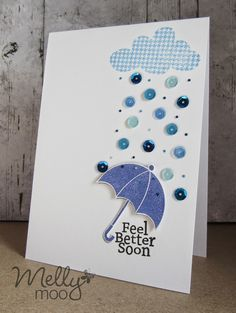 Mellymoo paper crafting singing in the rain, get well, feel better soon, Jane's doodles raindrops, doodlebug sequins