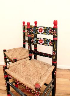 Mexican Folk Art Chairs Hand Painted Floral by FreewheelFinds - looks similar to the Channapatana wooden Furniture art from India