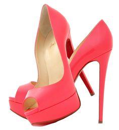 Christian Louboutin florescent pink lady peep toe 150 platform pumps