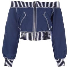 JEAN PAUL GAULTIER VINTAGE off the shoulder bomber jacket (935 RON) ❤ liked on Polyvore featuring outerwear, jackets, tops, shirts, coats, vintage flight jacket, vintage bomber jacket, bomber style jacket, blue bomber jacket and blue jackets
