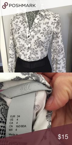 H&M top So versatile and chic. This top can be worn alone or layered under sweaters and allowed to peek through!  Pair with jeans for more casual look or black pants or skirts for work. You will not be disappointed!! Size 4 and fits true to size in my opinion H&M Tops Button Down Shirts