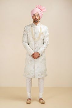 THE STYLE LOFT BY RITU DEORA Ivory Jaquared Sherwani. #flyrobe #groom #groomwear #groomsherwani #sherwani #flyrobe #wedding #designersherwani