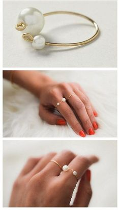 Two Pearls wire wrap ring
