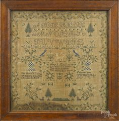 ennsylvania or New Jersey silk on linen sampler, ca. 1825, wrought by Catharine Haines b. 1812