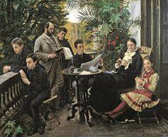 The Hirschsprung family portrait. From the left Ivar, Aage, Heinrich, Oscar, Robert, Pauline and Ellen HIrschsprung Peder Severin Krøyer1881