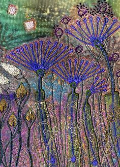 Fabric Art with Velvet, Angie Hughes Free Motion Embroidery, Embroidery Art, Machine Embroidery, Thread Painting, Thread Art, Textile Fiber Art, Textile Artists, Creative Textiles, Quilt Modernen